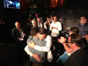 Jenner Cormier hugs Ricky Gomez after winning Diageo World Class Canada