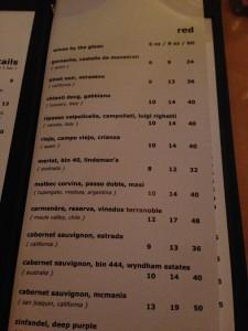 Hunters Landing Wine List
