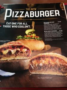 Pizzaburger Menu