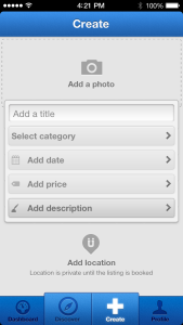 Uniiverse iPhone App Create Events