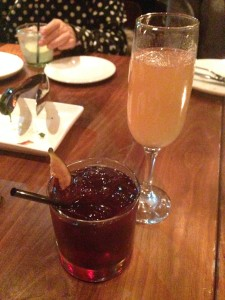 AVANTI (3oz) $16 Crown Royal, Grand Marnier, Plum Liquor, Red Wine, Figs and Soda (FRONT) CAMPO DI FRAGOLE (3oz) $15 Bacardi Superior, Strawberry Purée, Sparkling Wine and Fresh Basil (BACK)